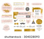 trendy branding blog kit icons | Shutterstock .eps vector #304028093