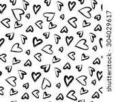 seamless pattern with hearts.... | Shutterstock .eps vector #304029617