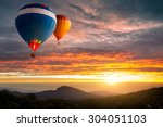 colorful hot air balloons... | Shutterstock . vector #304051103