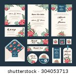 wedding floral template... | Shutterstock .eps vector #304053713