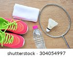 shuttlecock and badminton... | Shutterstock . vector #304054997