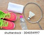 shuttlecock and badminton... | Shutterstock . vector #304054997