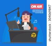 dj at radio station   disc... | Shutterstock .eps vector #304069847