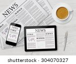 news page on tablet  mobile... | Shutterstock . vector #304070327
