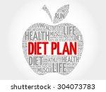 diet plan apple word cloud... | Shutterstock .eps vector #304073783