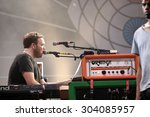 Small photo of FERROPOLIS, GERMANY - JULY 17, 2015: Barry Burns of Scottish post-rock band Mogwai on stage at MELT Festival on July 17, 2015 in Ferropolis.