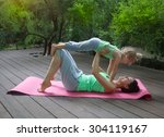 mother and daughter doing...   Shutterstock . vector #304119167