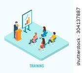 isometric presentation training ... | Shutterstock .eps vector #304137887