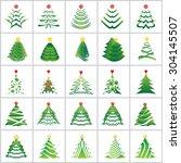 christmas tree icons set  ...