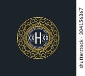 premium monogram flourishes... | Shutterstock .eps vector #304156367