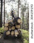 Small photo of wood logger truck in a forest
