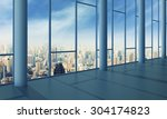 office with glass wall and... | Shutterstock . vector #304174823