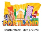 portland oregon city skyline... | Shutterstock . vector #304179893