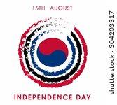 vector 15 august. south korea... | Shutterstock .eps vector #304203317