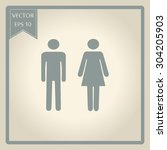 sign with toilet  men  women  | Shutterstock .eps vector #304205903