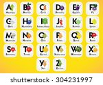 english alphabet for kids with... | Shutterstock .eps vector #304231997