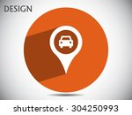 map pointer with car icon.... | Shutterstock .eps vector #304250993
