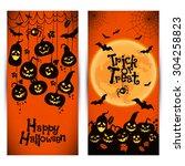 halloween background of... | Shutterstock .eps vector #304258823