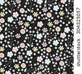 vintage floral pattern on black ... | Shutterstock . vector #304325057