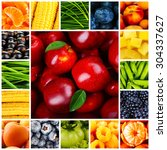 collage with tasty fruits and... | Shutterstock . vector #304337627