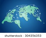 world map with flight routes...   Shutterstock .eps vector #304356353