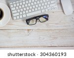 office table  workplace  laptop ... | Shutterstock . vector #304360193