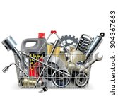 vector basket with car spares | Shutterstock .eps vector #304367663