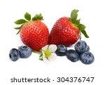 fresh ripe strawberry and blue... | Shutterstock . vector #304376747