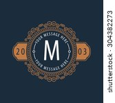 premium monogram flourishes... | Shutterstock .eps vector #304382273