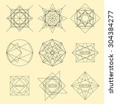 minimal monochrome geometric... | Shutterstock .eps vector #304384277