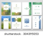 set of brochures in poligonal... | Shutterstock .eps vector #304395053