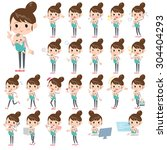 set of various poses of mother...   Shutterstock .eps vector #304404293