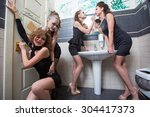 Small photo of drunk girl in toilet bars. women in evening dresses in alcoholic intoxication