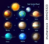 solar system 8 planets and... | Shutterstock .eps vector #304425323