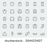 men's clothing icons in thin... | Shutterstock .eps vector #304425407