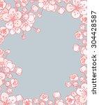 vector cherry or sakura floral... | Shutterstock .eps vector #304428587