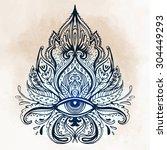 all seeing eye ornate... | Shutterstock .eps vector #304449293