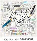 business teamwork concept... | Shutterstock .eps vector #304468307