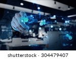 double exposure of businessman... | Shutterstock . vector #304479407