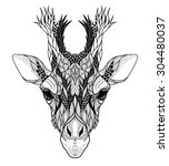 psychedelic giraffe head tattoo....   Shutterstock .eps vector #304480037