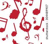 seamless pattern notes pixel... | Shutterstock .eps vector #304489907