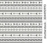 hand drawn geometric ethnic... | Shutterstock .eps vector #304490993