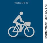 flat cyclist icon | Shutterstock .eps vector #304527173