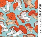 chanterelles pattern... | Shutterstock .eps vector #304535087