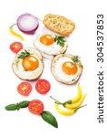 fried chicken eggs in roasted... | Shutterstock . vector #304537853
