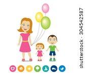 cartoon characters   mother... | Shutterstock .eps vector #304542587