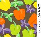 seamless vector vegetables... | Shutterstock .eps vector #304545473