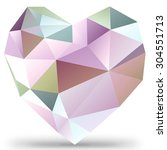 poligonal colorful heart on... | Shutterstock . vector #304551713