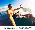 kiteboarding. fun in the ocean  ... | Shutterstock . vector #304562057