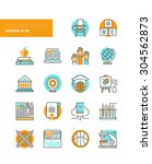 line icons with flat design... | Shutterstock .eps vector #304562873